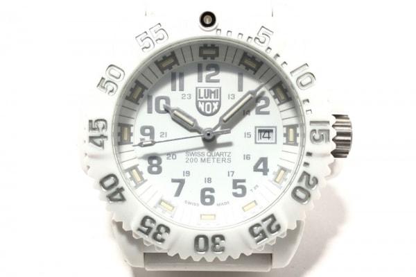 ルミノックス 腕時計美品  シールズ 3050/3950 メンズ ラバーベルト/回転ベゼル 白