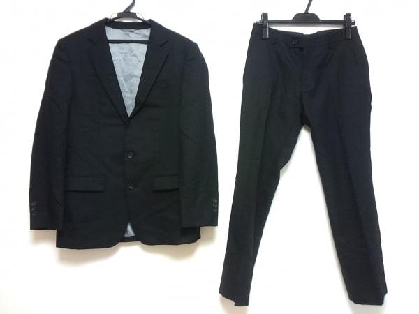 コムサコレクション シングルスーツ サイズS メンズ 黒 ストライプ/肩パッド