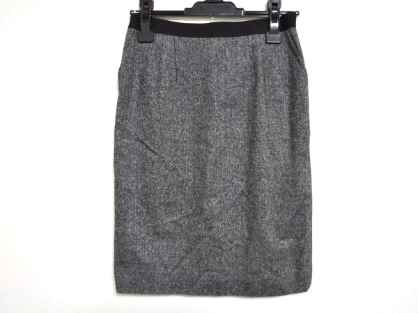 ランバンコレクション スカート サイズ38 M レディース 黒×白×マルチ ゴムウェスト