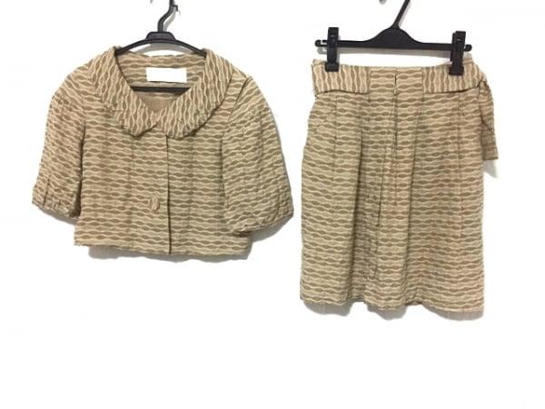 キャシャレル スカートスーツ サイズ34 S レディース美品  ベージュ×ライトブラウン