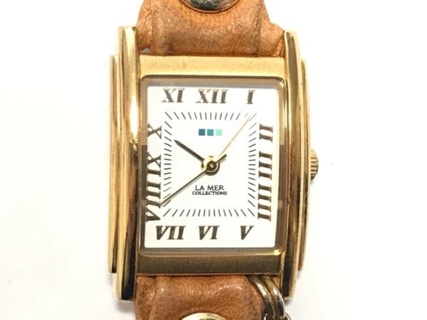 LA MER COLLECTIONS(ラメール) 腕時計 SR626SW レディース 3連革ベルト/チェーン 白