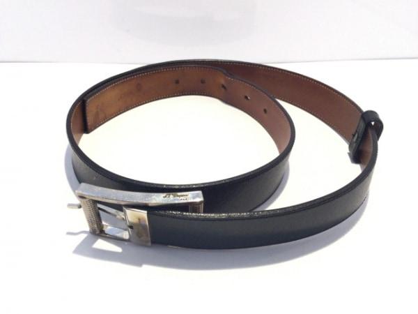 Dupont(デュポン) ベルト 黒×シルバー レザー×金属素材