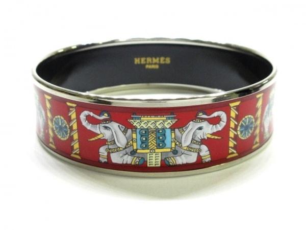 HERMES(エルメス) バングル美品  エマイユ 金属素材 レッド×シルバー×マルチ 象