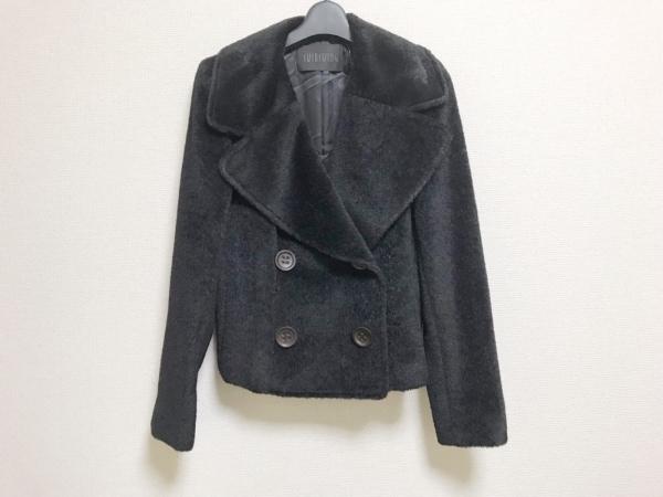 スウィンスウィング コート サイズ42 L レディース美品  黒 肩パッド/ショート丈/冬物