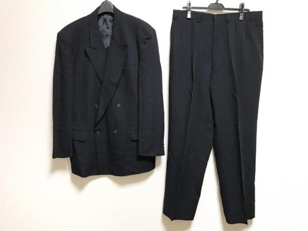 DURBAN(ダーバン) シングルスーツ メンズ 黒×ライトグレー ストライプ/3点セット