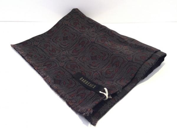 BARREAUX(バルー) ストール(ショール)美品  黒×ライトグレー×ダークブラウン シルク