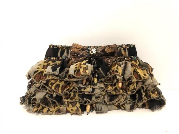 メアリーフランシス クラッチバッグ美品  ライトグレー×黒×マルチ 化学繊維