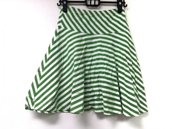 marimekko(マリメッコ) スカート サイズXS レディース 白×ライトグリーン
