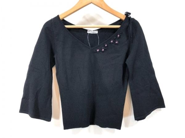 アンナモリナーリ 七分袖セーター レディース美品  黒 ビーズ/フラワー