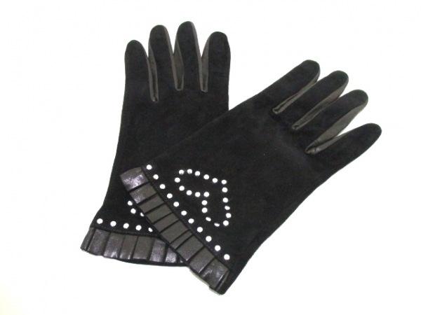 ウノカンダ 手袋 レディース 黒×シルバー スタッズ ヌバック×レザー×金属素材