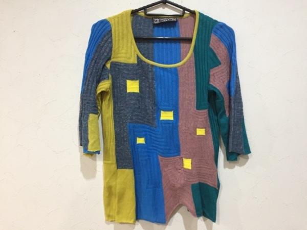 エムアンドキョウコ 長袖セーター サイズ1 S レディース イエロー×ブルー×マルチ