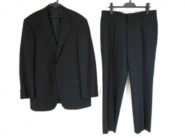 SAVILE ROW(サヴィルロウ) シングルスーツ メンズ美品  黒 ストライプ/ネーム刺繍