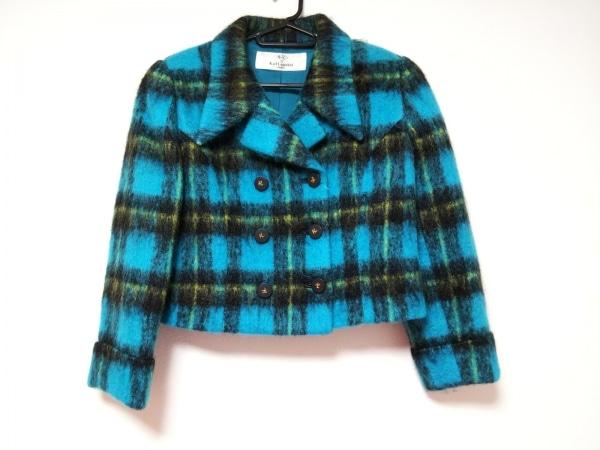 カールラガーフェルド コート サイズ38 M レディース美品  ブルー×黒×イエロー 冬物