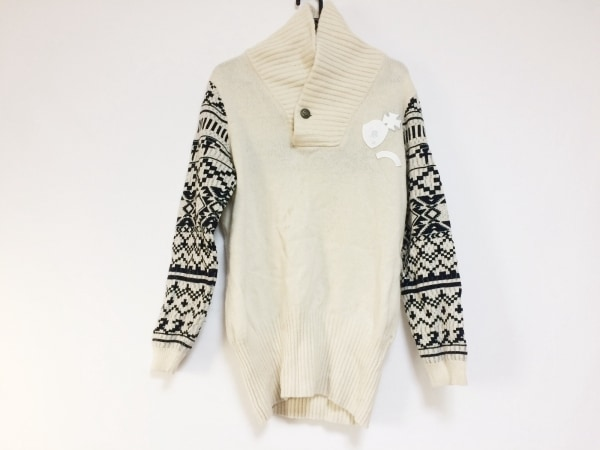 RUSSELUNO(ラッセルノ) 長袖セーター サイズ4 XL メンズ アイボリー×黒