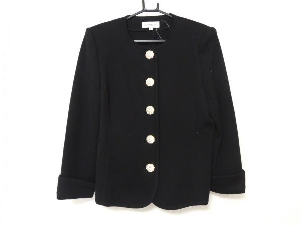 イヴサンローラン ジャケット サイズL レディース美品  黒 肩パッド/ニット/ビジュー