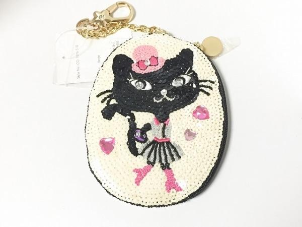 CheChe(チチ) コインケース美品  アイボリー×黒×マルチ 猫/ビーズ