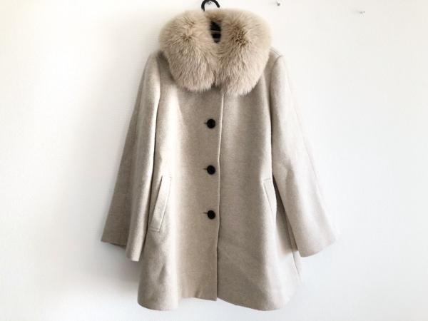 DAKS(ダックス) コート サイズ13 L レディース ベージュ ファー/冬物