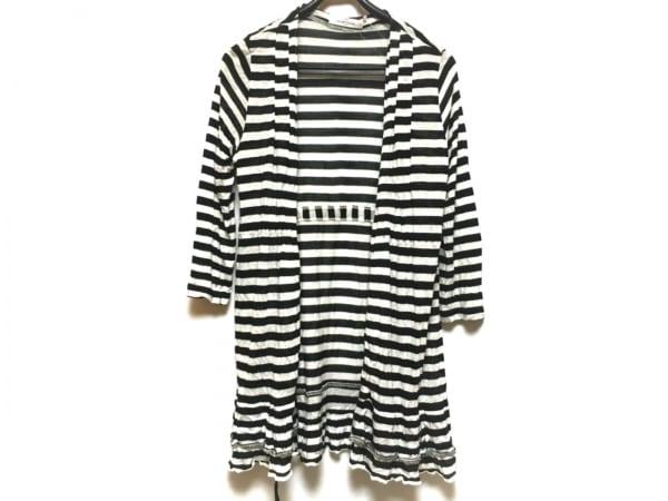 ギャラリービスコンティ カーディガン レディース美品  黒×白 ロング丈/ボーダー