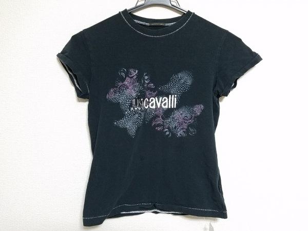 RobertoCavalli(ロベルトカヴァリ) 半袖Tシャツ レディース 黒×グレー×マルチ