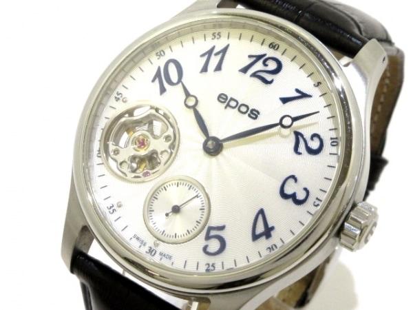 epos(エポス) 腕時計美品  パッション 3369M メンズ 革ベルト/裏スケ 白