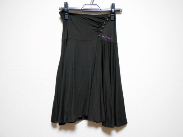 ウンガロフィーバー スカート サイズ38 M レディース ダークブラウン ラインストーン