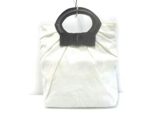 サルバトーレフェラガモ パフューム ハンドバッグ ヴァラ 白×黒 コットン×レザー