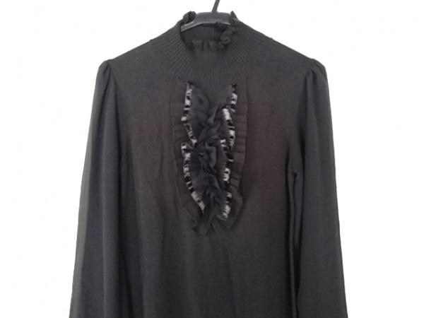 アンレクレ ワンピース サイズ38 M レディース美品  黒 ハイネック/ニット/フリル