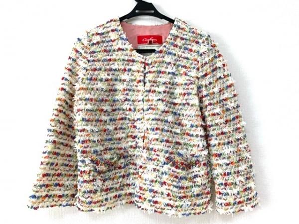 コーヘン ジャケット サイズ38 M レディース美品  白×ライトグリーン×マルチ