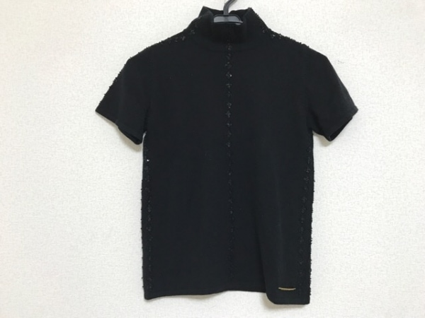 ヴェルサーチジーンズ 半袖セーター サイズXS レディース 黒 タートルネック/ビーズ