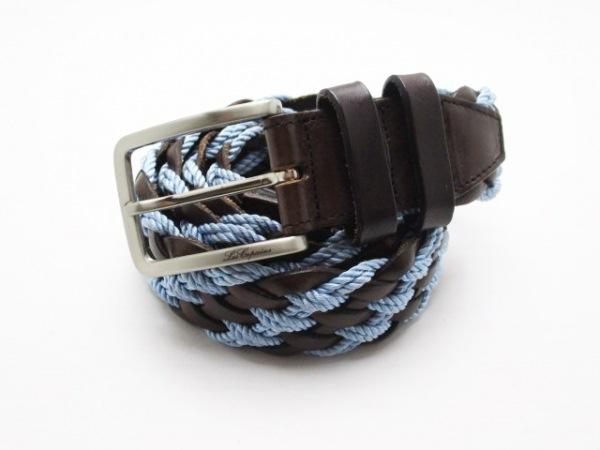 レコパン ベルト 105/120 ダークブラウン×ライトブルー 編み込み レザー×化学繊維