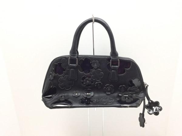 M'S GRACY(エムズグレイシー) ハンドバッグ美品  黒 フラワー 合皮×エナメル(合皮)