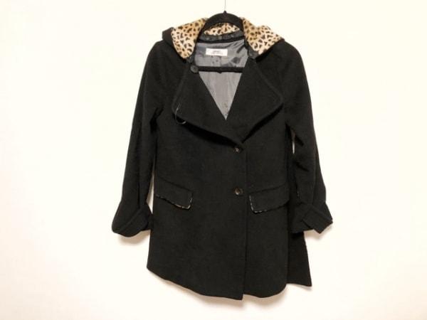 SRIC(スリック) コート サイズ38 M レディース美品  黒×ブラウン 冬物/豹柄