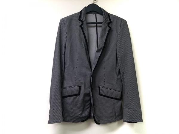 MEN'SBIGI(メンズビギ) ジャケット サイズ03 L メンズ 黒×ライトグレー ストライプ
