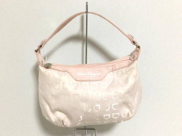 サルバトーレフェラガモ パフューム ハンドバッグ ピンク ジャガード×化学繊維