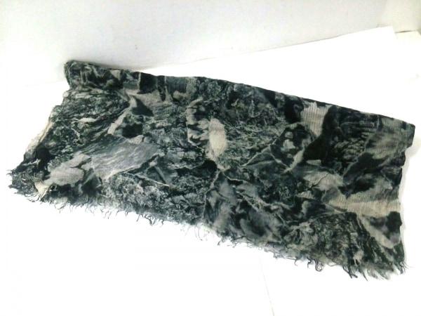 ファリエロサルティ ストール(ショール)新品同様  黒×白×ダークグリーン 花柄