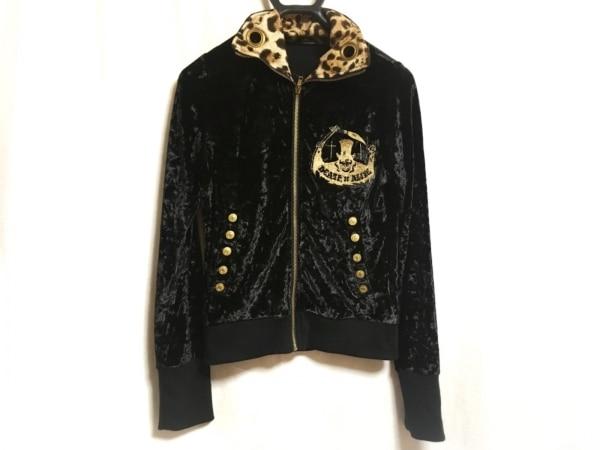 ハイドアンドシーク ブルゾン レディース美品  黒×ゴールド ベロア/刺繍