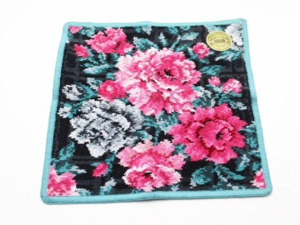 FEILER(フェイラー) ハンカチ美品  黒×ピンク×マルチ ハンドタオル/花柄 コットン