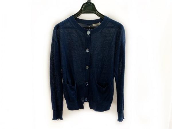 マリリンムーン カーディガン レディース美品  ネイビー 裾チュール/ビジューボタン