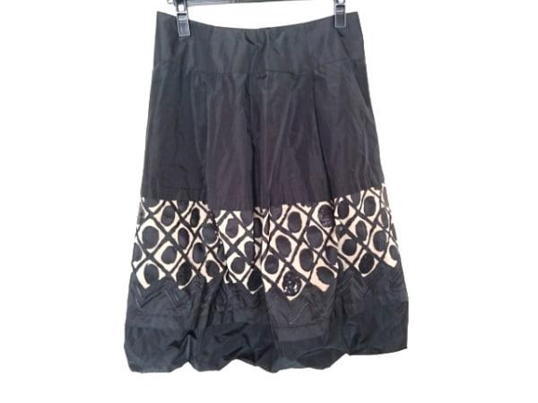 HIROKO KOSHINO(ヒロココシノ) バルーンスカート サイズ40 M レディース 黒×ベージュ