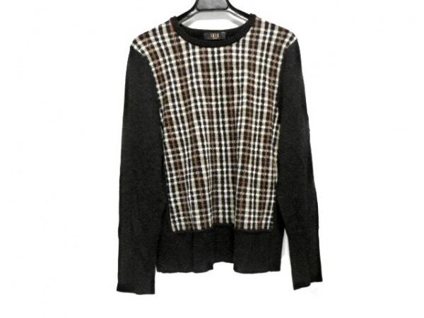 ダックス 長袖セーター サイズF レディース 黒×ベージュ×ブラウン ラメ/チェック柄