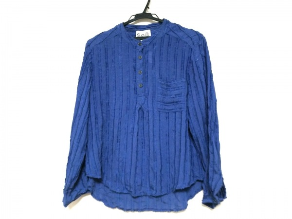 シーニューヨーク 長袖ポロシャツ サイズ4 XL レディース ネイビー ストライプ