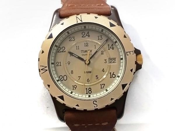 TIMEX(タイメックス) 腕時計美品  395 LA CELL メンズ 革ベルト ベージュ