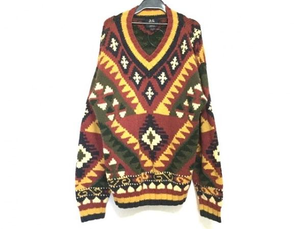 ウィリス&ガイガー 長袖セーター サイズL メンズ ボルドー×ダークネイビー×マルチ