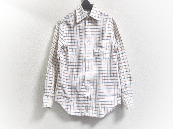 Guy Rover(ギローバー) 長袖シャツ サイズXS メンズ アイボリー×ネイビー×レッド