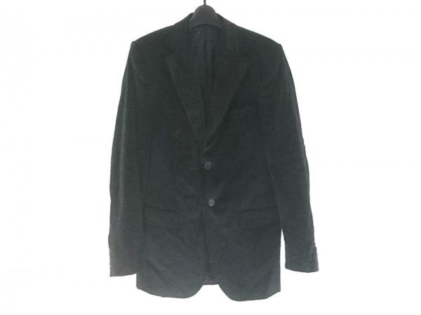 ゼニア ジャケット メンズ美品  黒×ダークグレー×ライトグレー ストライプ/ベロア