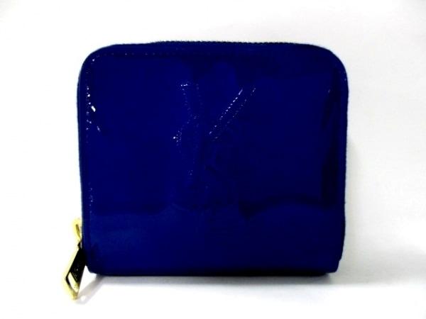 イヴサンローランリヴゴーシュ 2つ折り財布美品  - 352906 ブルー 1
