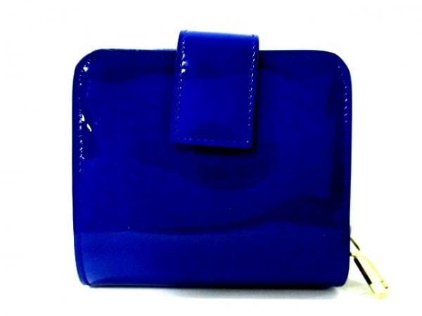 イヴサンローランリヴゴーシュ 2つ折り財布美品  - 352906 ブルー 2