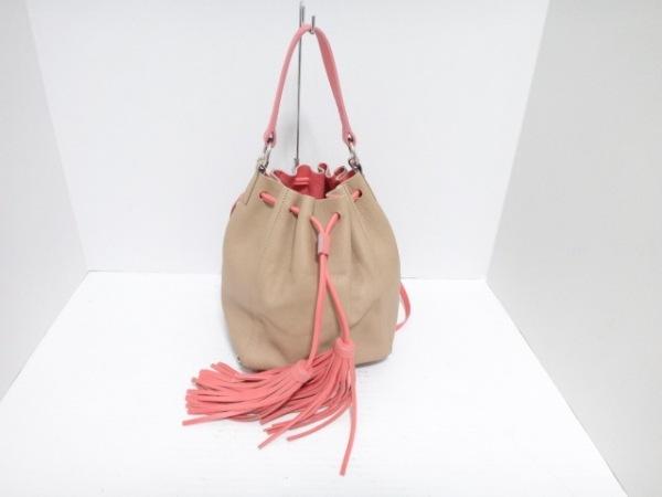 AMANTESAMENTES(アマンテスアメンテス) ハンドバッグ ベージュ×ピンク 巾着 レザー