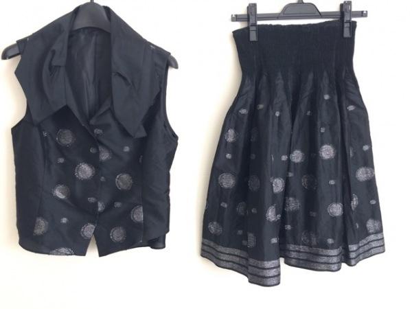 HIROKO BIS(ヒロコビス) スカートセットアップ サイズ9 M レディース 黒 ラメ