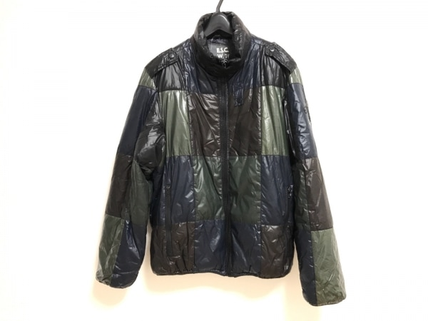 ENERGIE(エナジー) ダウンジャケット サイズM メンズ 黒×ネイビー×マルチ